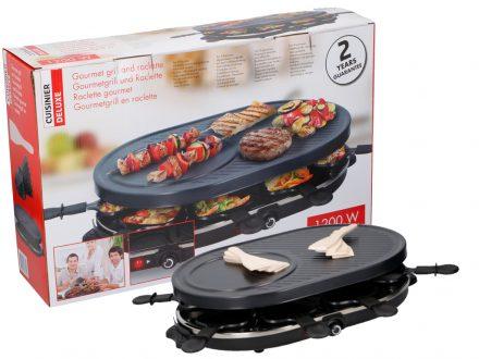 Cuisinier Deluxe Επιτραπέζια Ηλεκτρική Αντικολλητική Πλάκα Ψησίματος Μπάρμπεκιου BBQ Γκριλ table Grill Ρακλέτα Raclette 32x12x47.5cm 1200W 8 ατόμων με Ρυθμιζόμενο θερμοστάτη