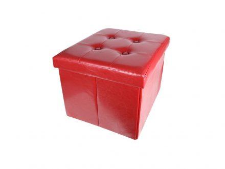 Homa Σκαμπό Πτυσσόμενο με Αποθηκευτικό Χώρο σε Κόκκινο χρώμα 36x36x38cm από Faux Δέρμα