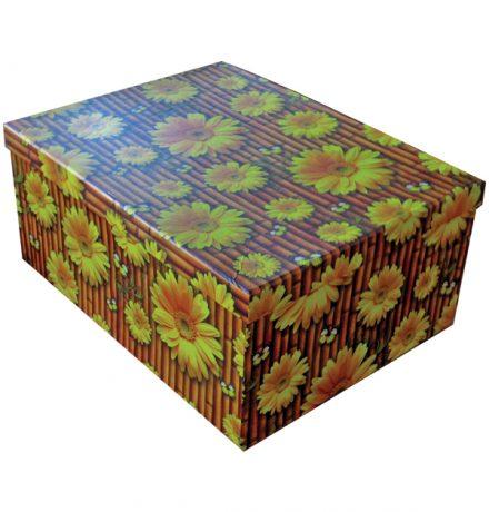 Σετ χάρτινα Παραλληλόγραμμα Κουτιά Αποθήκευσης 10 Τεμάχια με Σχέδιο Μαργαρίτες - Cb