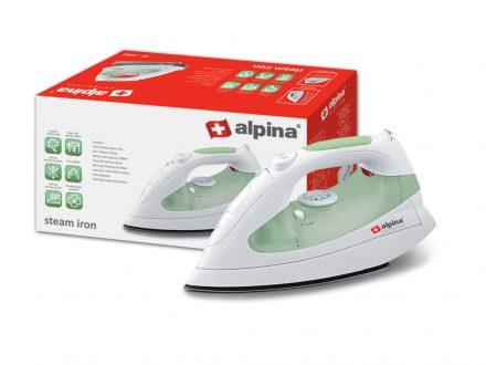 Alpina Switzerland Ηλεκτρικό Σίδερο Ατμού Μεγάλης Ισχύος 1800W και Δεξαμενή νερού 300ml με Λειτουργία Anti-Calc σε Πράσινο χρώμα
