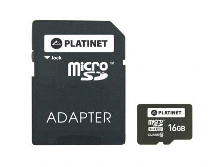 Κάρτα Μνήμης MicroSDHC 16GB Platinet Class 10 Adapter SD