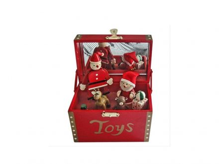Χριστουγεννιάτικο Μουσικό Ξύλινο Κουτί Άγιος Βασίλης 16x12x10cm - Cb