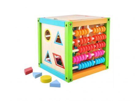 Ξύλινος Κύβος Πολλαπλών Δραστηριοτήτων Εκπαιδευτικό Παιχνίδι 5 σε 1