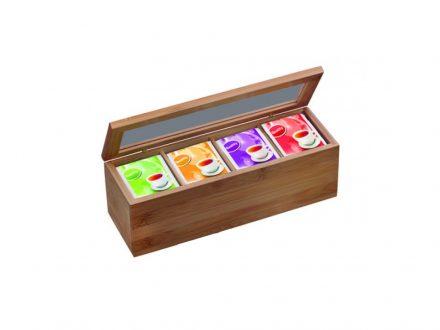 Ξύλινο Πρακτικό Κουτί αποθήκευσης για φακελάκια τσαγιού Tea box με 4 διαμερίσματα και διάφανο καπάκι 26.5x9x9cm