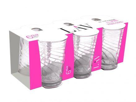 Lav Σετ 6 Γυάλινα Ποτήρια 205ml για Νερό Χυμό Αναψυκτικό με σχέδιο Νερά