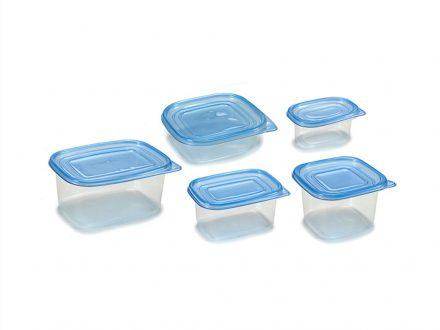 Σετ Τάπερ 15 τεμαχίων Δοχεία φαγητού Φαγητοδοχεία σε 5 μεγέθη με Μπλε καπάκι - Cb