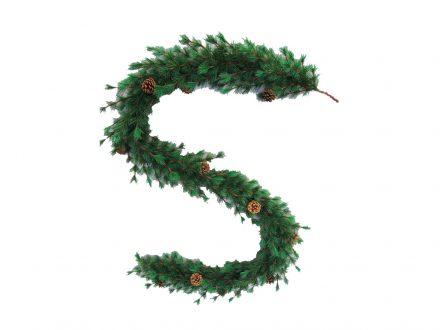 Χριστουγεννιάτικη Γιρλάντα Πράσινη με φύλλωμα Πεύκου και ενσωματωμένα 12 διακοσμητικα κουκουνάρια μήκους 2
