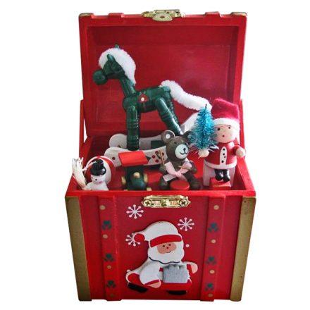 Χριστουγεννιάτικο Μουσικό Ξύλινο Κουτί Αλογάκι 16x10x10cm - Cb