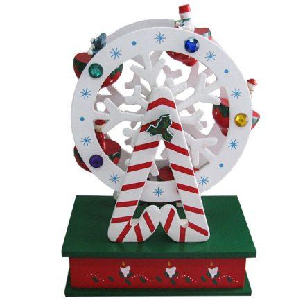 Χριστουγεννιάτικο Μουσικό Ξύλινο Κουτί Ρόδα 20x14cm - Cb