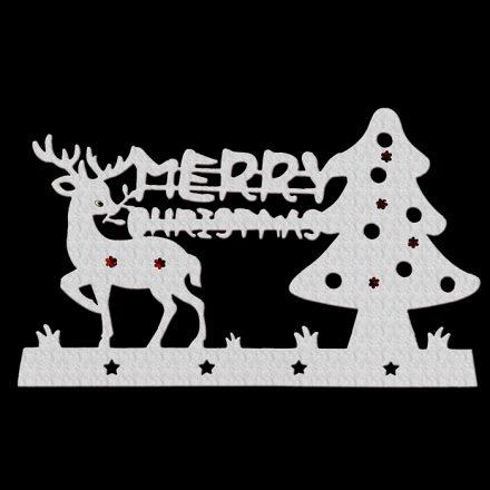 Χριστουγεννιάτικο Αυτοκόλλητο για το Παράθυρο Δέντρο με ελάφι με πούλιες 58x36cm - Cb