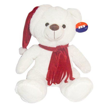 Χριστουγεννιάτικο Λούτρινο Αρκουδάκι Λευκό 40cm - Cb