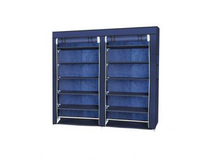 Διπλή Φορητή Υφασμάτινη Ντουλάπα με Μεταλλικό Σκελετό σε Μπλε χρώμα