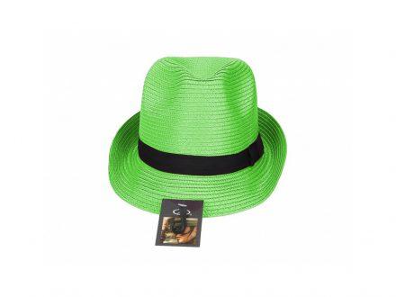 Ψάθινο Καπέλο Urban Τύπου Παναμά από Λινάρι και Πολυεστέρα σε Λαχανί χρώμα - OEM