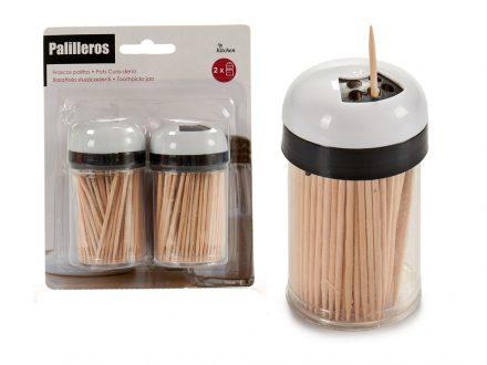 Θήκη για οδοντογλυφίδες σετ 2 τεμαχίων με οδοντογλύφιδες Bamboo 200 τεμαχίων - Cb