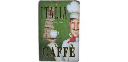 Διακοσμητική Μεταλλική Πινακίδα (20Χ30cm) Italia Caffè! - OEM