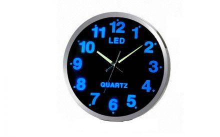 Εντυπωσιακό Ρολόι Τοίχου με Μπλε Φωτισμό LED