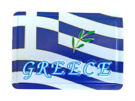 Μαγνητάκι Ψυγείου Τετράγωνο με ανάγλυφο σχέδιο Ελληνική Σημαία