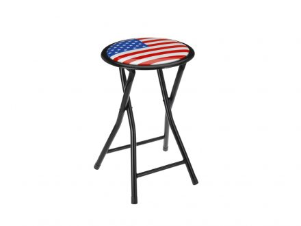 Πτυσσόμενο Σκαμνί-Σκαμπό Μεταλλικό με Στρογγυλό Κάθισμα με σχέδιο Σημαία της Αμερικής - Cb