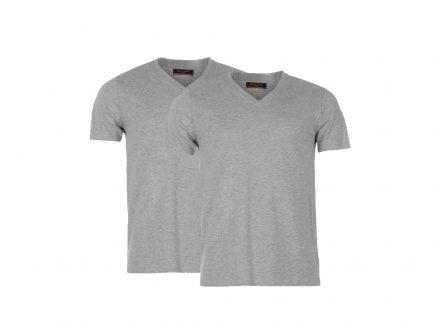 Pierre Cardin Ανδρικό μπλουζάκι T-Shirt Τύπου V σε Γκρι χρώμα Σετ των 2 τεμαχίων - Pierre Cardin