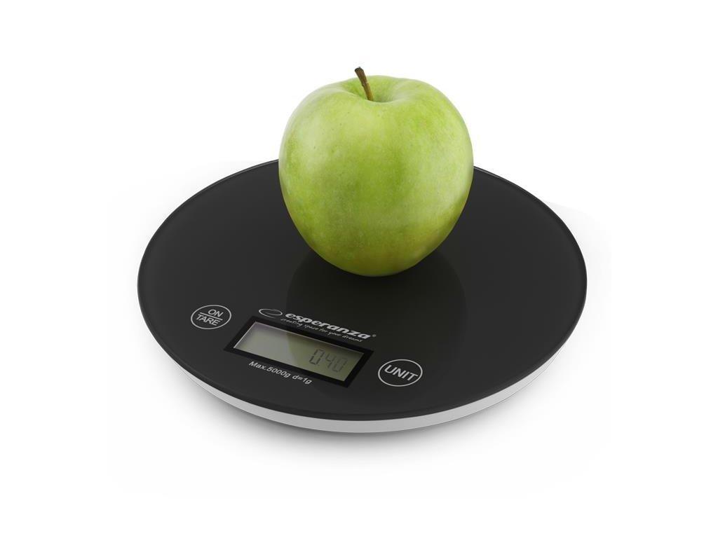 Esperanza Ψηφιακή Γυάλινη Στρογγυλή Ζυγαριά Κουζίνας Ακριβείας Mango 20cm έως 5Kg σε Μαύρο χρώμα
