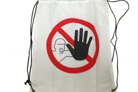 Trendy Τσάντα Ώμου Σακίδιο Πλάτης 42x34x1cm Πολλών Χρήσεων για τα Ψώνια την Παραλία και το Γυμναστήριο με Θέμα STOP