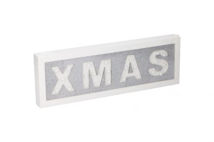 "Arti Casa Ξύλινη Χριστουγεννιάτικη Μοντέρνα Κρεμαστή Φωτιζόμενη Πινακίδα με 25 LED και θέμα ""XMAS"" 40x13.5x3cm σε λευκό χρώμα"