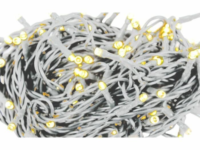Grundig 120 LED Χριστουγεννιάτικα λαμπάκια 230V Θερμού Χρώματος και Λευκό καλώδιο μήκους 6.8 μέτρα