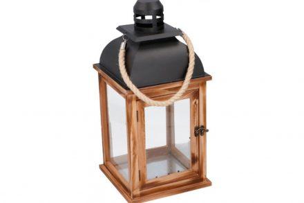 Arti Casa Ξύλινο Διακοσμητικό Φαναράκι 21.5x21.5x46m Εσωτερικού και Εξωτερικού χώρου με Μαύρο μεταλλικό καπάκι και Λαβή από Σχοινί σε Καφέ χρώμα