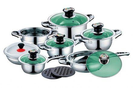 Schafer Σετ Μαγειρικά Σκεύη 16 τεμ. από Ανοξείδωτο Ατσάλι αποτελούμενο από 4 Κατσαρόλες με πράσινα γυάλινα καπάκια