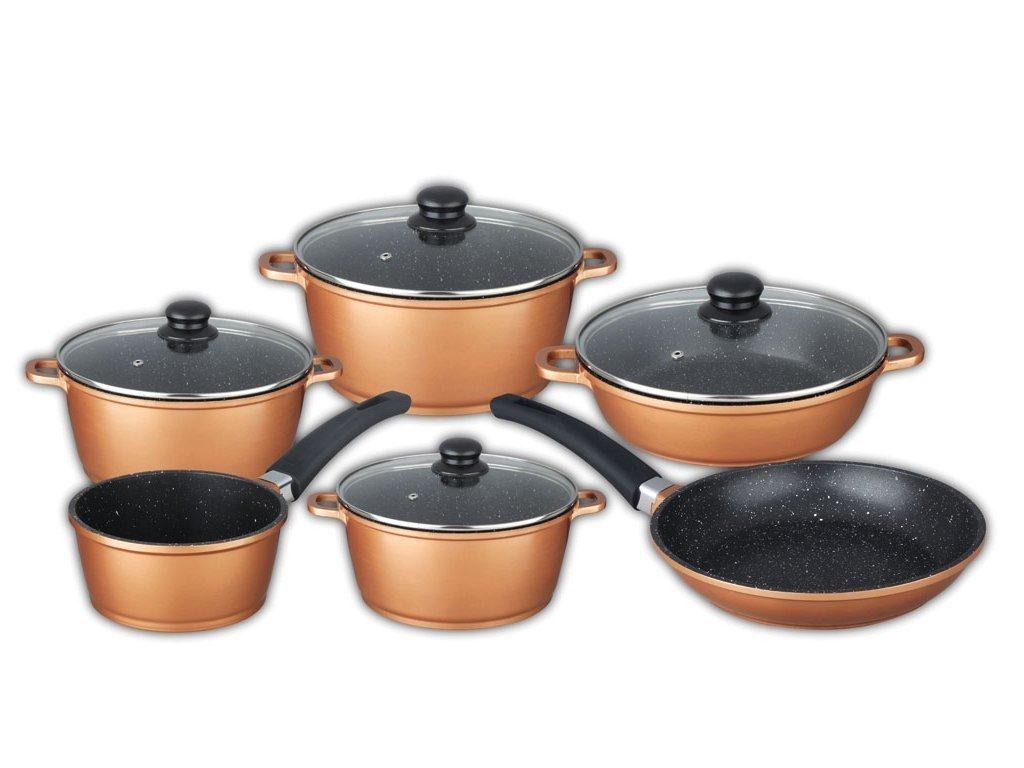 Schafer Σετ Μαγειρικά Σκεύη 10 τεμ με Μαρμάρινη Επίστρωση και πάτο Induction σε Copper χρώμα αποτελούμενο απο 4 κατσαρόλες με γυάλινο καπάκι