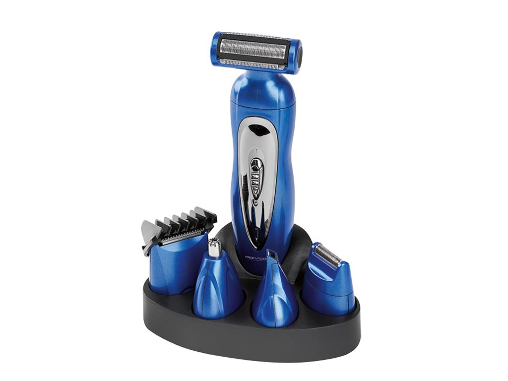 Σετ Επαναφορτιζόμενη Κουρευτική  Ξυριστική Μηχανή και Τρίμμερ 5 σε 1 σε Μπλε χρώμα