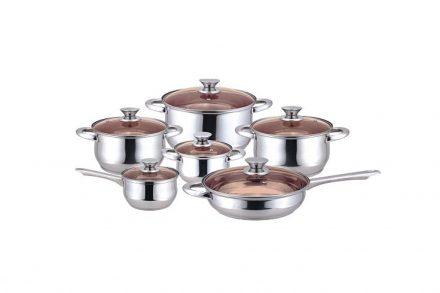 Muhler Σετ Μαγειρικά Σκεύη 12 τεμ. από Ανοξείδωτο ατσάλι με Τριπλό Ανθεκτικό πάτο αποτελούμενο από 5 Κατσαρόλες και 1 Τηγάνι με Γυάλινα καπάκια