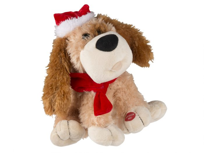 Christmas Gifts Λούτρινο Χριστουγεννιάτικο Παιχνίδι Σκυλάκι 28cm που τραγουδάει και κινείται