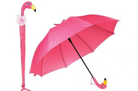 Ομπρέλα Βροχής Φλαμίνγκο μήκους 96cm με μπαστούνι και βάση σε ροζ χρώμα