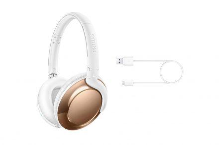 Philips Ασύρματα Bluetooth Ακουστικά Over-Ear 103dB σε Λευκό Χρυσό χρώμα