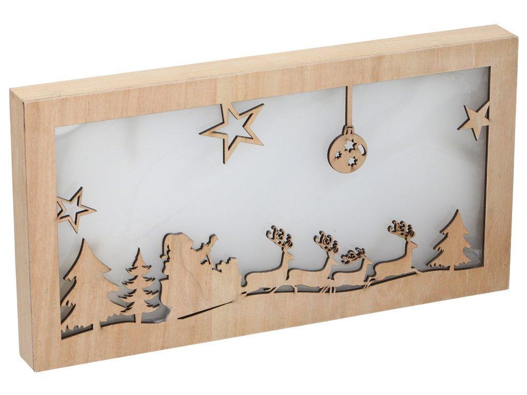 Christmas Gifts Χριστουγεννιάτικη Διακοσμητική Ξύλινη Πινακίδα με φωτισμό LED
