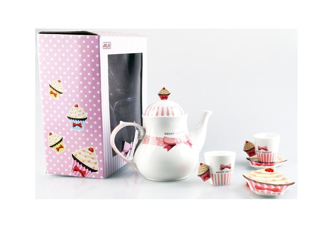 Σετ σερβιρίσματος τσαγιού 5 τεμαχίων με σχέδιο Cup Cake - Anilar
