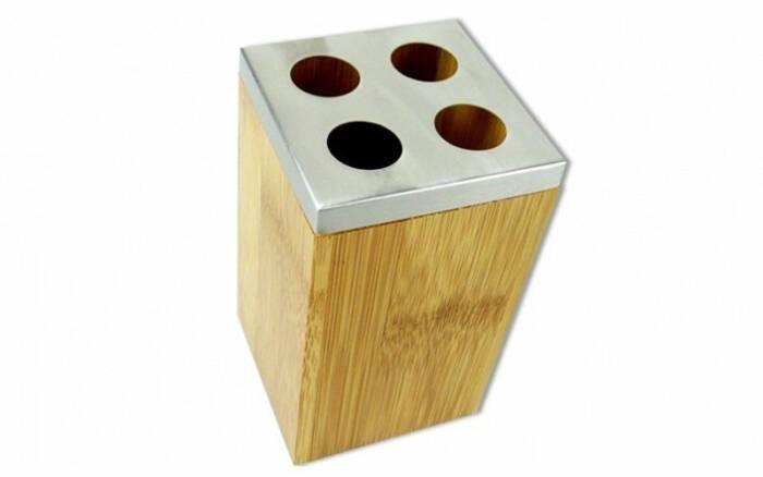 Bamboo Δοχείο για Οδοντόβουρτσες από Μπαμπού και Ανοξείδωτο ατσάλι 6.5x6.5x11cm με ειδικές ατομικές θέσεις - Bamboo