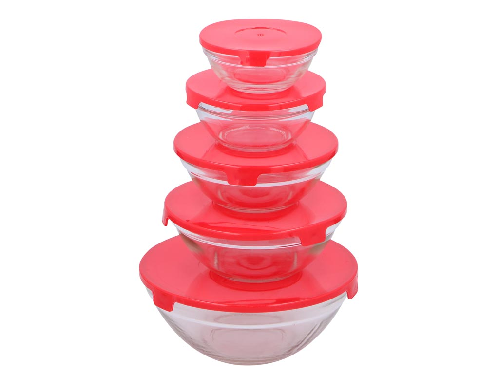 Σετ Γυάλινα Μπολ αποθήκευσης 10 τεμ. με Πλαστικά Κόκκινα καπάκια