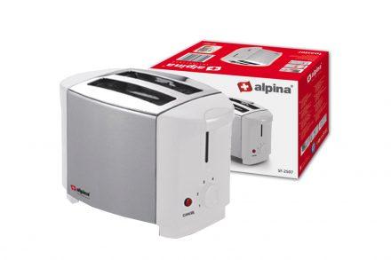 Alpina Switzerland Αυτόματη Φρυγανιέρα 750W 2 θέσεων με 4 Επίπεδα Ψησίματος σε Λευκό/Ασημί χρώμα