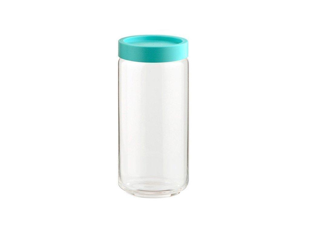 Γυάλινο Βάζο Αποθήκευσης  με Πλαστικό Καπάκι Ασφαλείας σε Τιρκουάζ χρώμα Ιδανικό για αποθήκευση Τροφίμων