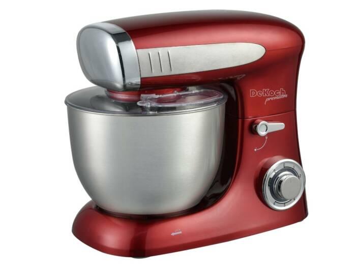 Dekoch Κουζινομηχανή Μίξερ 1300W με Κάδο 6.5L και επιπλέον Αξεσουάρ σε Κόκκινο χρώμα