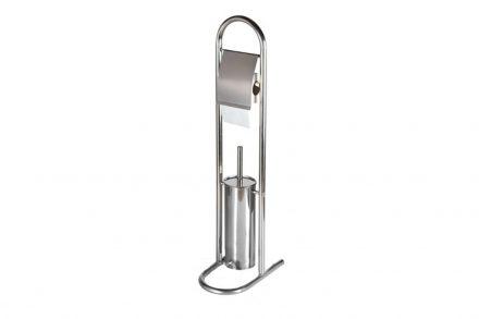 Bath & Shower Inox Βάση για χαρτί τουαλέτας με Πιγκάλ 27x17x80cm από Ανοξείδωτο ατσάλι 95091 - Bath&Shower