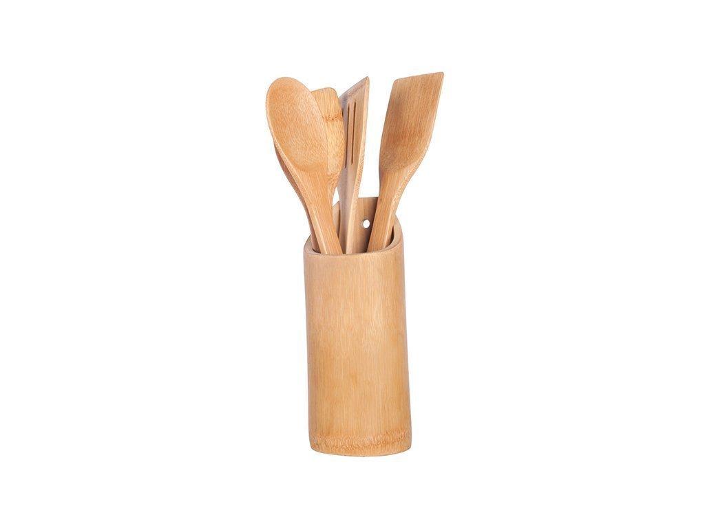 Bamboo Σετ Ξύλινα Εργαλεία Κουζίνας από Μπαμπού 5 τεμ. με Βάση Αποθήκευσης - Bamboo
