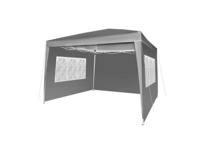 Gazebo Πτυσσόμενο Αδιάβροχο Κιόσκι Τέντα Partytent 3x3cm με Μεταλλικό σκελετό και Τσάντα Μεταφοράς σε Γκρι Χρώμα