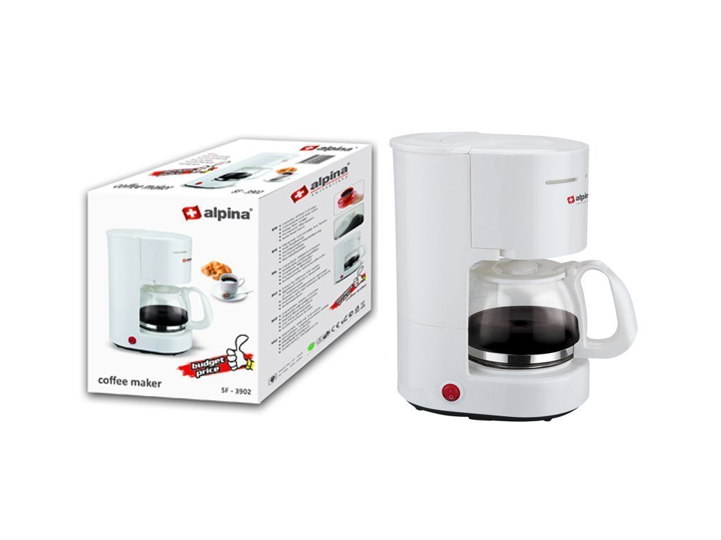 Alpina Switzerland Καφετιέρα Φίλτρου Γαλλικού Καφέ 600W χωρητικότητας 650ml για 4-6 φλιτζάνια σε Λευκό χρώμα