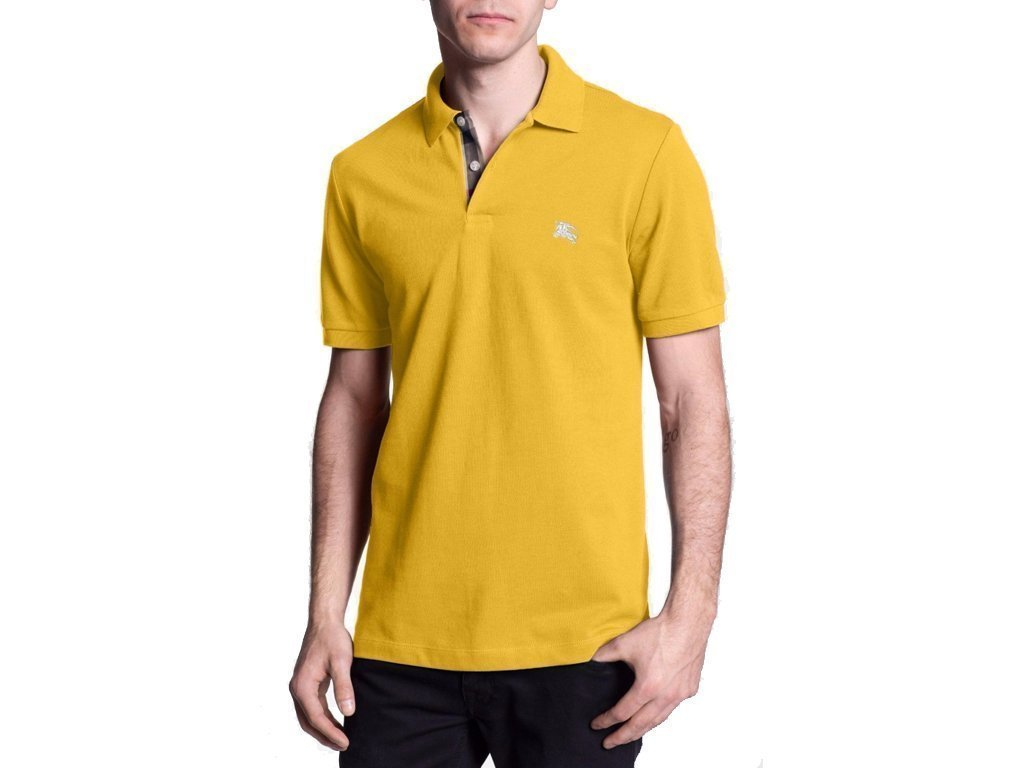 Burberry Ανδρική Πόλο Polo Μπλούζα Brit με κουμπιά σε Κίτρινο χρώμα