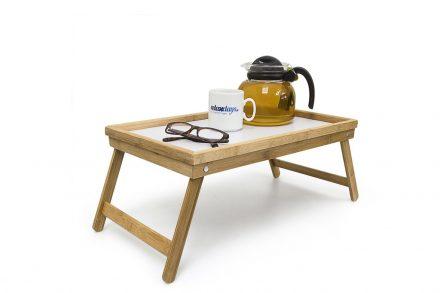 Bamboo Πτυσσόμενο Τραπεζάκι για πρωινό στο κρεβάτι από Μπαμπού 22x50x30cm σε Λευκό Χρώμα