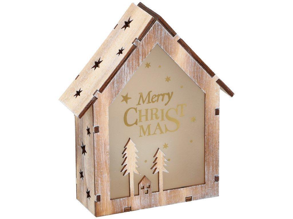 Christmas Gifts Χριστουγεννιάτικο Διακοσμητικό Ξύλινο Σπιτάκι με φωτισμό LED