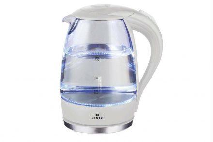 Γυάλινος Ηλεκτρικός Βραστήρας Νερού 2200W 1.7Lt με LED φωτισμό σε Λευκό χρώμα